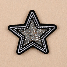 Embroidery iron on patch Sequins patches custom patch star hot fix rhinestone Silver badge 2 pcs/lot transfers cloth patch(China)