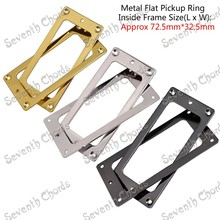 2 Pcs Metal Flat Base Pickup Humbucker Ring for Electric Guitar / Mounting Inside Frame Size:72.5mm x 32.5mm 3 Colors can choose(China)