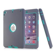 For Apple iPad Mini Case All Round Protective Cover 3 Layer Plastic + Rubber Case for iPad Mini 2 3 1 Coque Funda Capa 10Colors