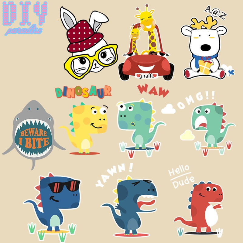 Cute Cartoon Animal dinosaur Printed Heat Transfer Patches for Clothes Boy Girl Kids T-Shirt Iron On Patch Applique Stickers()