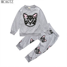 2016 hello kitty girls clothing sets kids clothes little cat baby girl and boy long sleeve cotton set(actual photo) # 035
