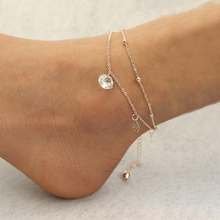 Hot Selling Sexy Gold Double Chain Hollow Rose Crystal Bell Anklets Ankle Foot Jewelry Barefoot Beach BL-0328-GD
