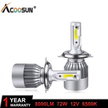AcooSun H4 H7 LED Car Headlight C6 H1 H3 Headlamp Light H8/H11 HB3/9005 HB4/9006 9012 9007 H13 6000K 72W 8000LM All In One Car(China)