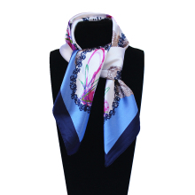 Imitated Silk Hand Paint Printed 60cm*60cm Circle Office Lady Square Scarf Woman Headband Hijab