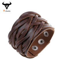 Wide Genuine Leather Cuff Wrap Bangles Punk Rock Vintage Mens Bracelets Double Studded Leather Braided Bracelet Surfer Jewelry