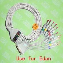 Compatible with 15PIN EDAN EKG Machine the One-piece 10 lead ECG cable and 4.0 red Banana leadwires,IEC or AHA.