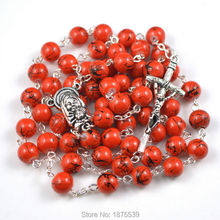 Best selling glass bead rosary with papa cross(China)