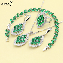 XUTAAYI Wedding 925 Silver Jewelry Sets Green Imitated Emerald Necklace Pendant/Rings/Earrings/Bracelet For women