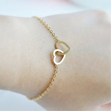 B065 Famous Brand Jewelry Love Gold Colour Double Heart Bracelet Mom Charm Stainless Steel Hand Chain Mother's Day Jewelry Gift