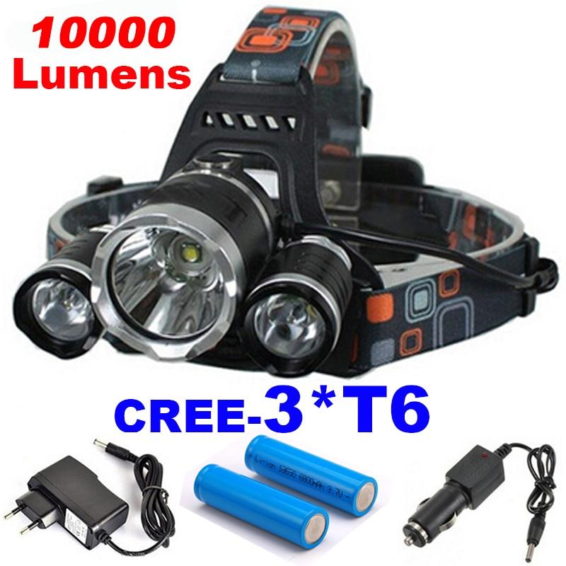 3T6 10000Lumens 5-Modes CREE XML 3* T6 LED Headlight Headlamp Lamp Light Torch Camping Fishing Flashlight Hunting<br><br>Aliexpress