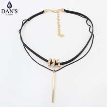 DAN'S New Fashion Retro Geometric star Pendant Collar Double chains leather simple choker necklace gift for women girl 122888(China)