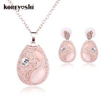 2016 New Design Fashion Rhinestone Crystal Opal african Jewelry Sets Necklaces sets For Women Wedding Color turkish jewellery