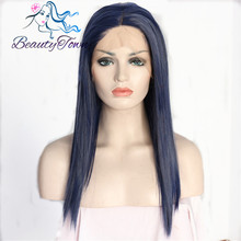 BeautyTown Short Bobo Type DarkBlue Color Glueless Hand Tied Heat Resistant Hair Synthetic Lace Front Party Wig For Daliy Makeup(China)