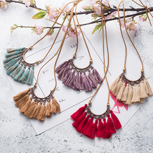 Buy Vintage 5 color Tassel necklaces Ethnic Long Leather chain Sweater chain necklaces women Moon Hollow Long tassel necklace for $1.76 in AliExpress store