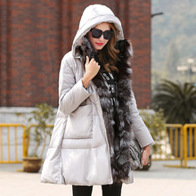 New European Brand Winter Jacket Women Solid Large Fox Fur Collar White Duck Down Warm Long Down Coats Hooded Parka AO032