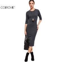 COLROVIE Casual Dresses for Woman Work Dress Designer Vintage Dresses Heather Grey Half Sleeve Casual Midi Dress C1204