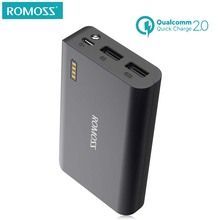 ROMOSS 10000mAh Two Way Quick Charge 2.0 Power Bank External Battery Pack Dual USB Fast Charging for sumsang phone(China)