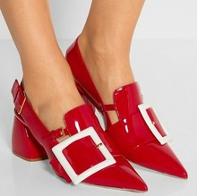 New Stylish Red Patent Leather Pumps Big Belt Buckle Pointed Toe Ladies Shoes Square Heel Hollow Out Runway Shoes Woman