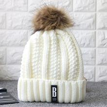 2016 Genuine Real fur ball thick wool velvet winter hats for women fur pompom Skullies beanies Ladies Knit Cap ski bonnet femme