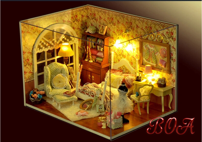 Diy Doll House  Miniature Handmade Assembling Model Building Kits Luxurious Dollhouse Birthday Christmas Gift puzzle room<br><br>Aliexpress
