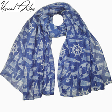 [Visual Axles] Wholesale Autumn&Spring Fashion Women Scarf Anchor Soft Oceanic Tower Starfish Print Voile Scarf Shawl 2017(China)