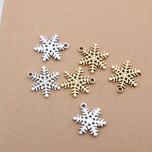 50pcs DIY Jewelry Findings Gold/silver plated Alloy Snowflake Pendant Charms Fit Bracelet Necklace Keyring Phone Chain