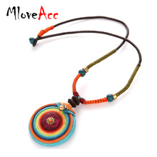 MloveAcc Natural Stone Handmade Pendant Necklace Bohemia Exotic Ethnic Colorful Necklace for Women Jewelry Gift Occassion(China)