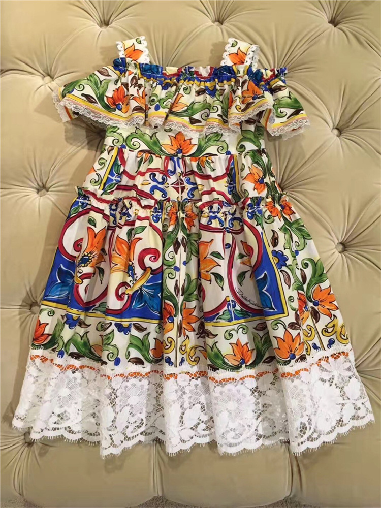 2018 SUMMER children clothing girls flower dresses for girls vestidos lucky child girls dress baby clothes family clothing<br>