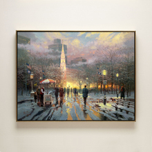 cotton handmade oil painting Thomas winter street people night landscape no frame hand painted home wall art decoration pictures