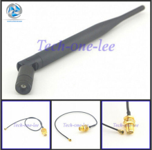2.4 GHz 5dBi Antenna Wireless RP-SMA Male for PCI Card USB Wifi Booster + RP SMA Jack to Mini ufl./ IPX 1.13 Pigtail Cable