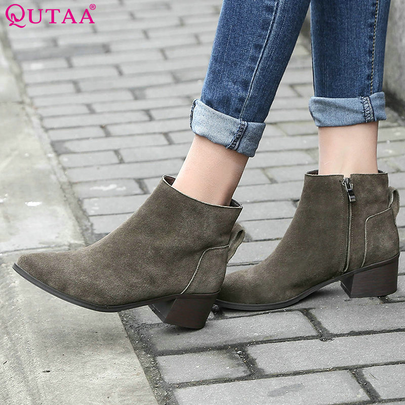QUTAA Black Square Med Heel Woman Ankle Boots Women Shoes Round Toe Zipper Genuine Leather Ladies Motorcycle Boot Size 34-40<br><br>Aliexpress