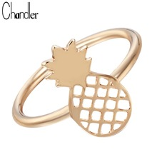 Chandler Simple Pineapple Ring Plain Fruit Charm Wedding Band Pinkie Finger Bagues For Women Fashion Jewelry Luxury Accessaries(China)