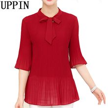 UPPIN 2017 Summer Tops Women Blouses 3/4 Sleeve Black Chiffon Blouse Plus Size Women Shirt 4XL Big Size Ladies Work Shirts Pleat