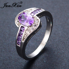 JUNXIN Female Purple Oval Ring Fashion White & Black Gold Filled Jewelry Vintage Wedding Rings For Women Birthday Stone Gifts(China)