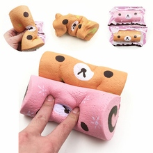 Squishyfun Swiss Roll Kawaii Bear Sponge Cake Toy Super Slow Rising 15cm With Original Packaging Funny Squeeze Toys(China)