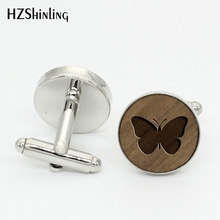 HZShinling NW-008 Trendy Round Wood Cufflinks Butterfly Cufflink Honeybee Walnut Cuff links Silver Bronze Insect Cuff(China)