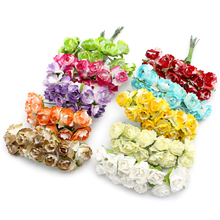 12pcs/bunch Scrapbooking artificial Mulberry Paper Rose Bouquet wire stem wedding flower 027021015