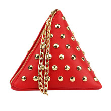 Fashion Design Triangular Pyramid Wristlet Clutch Bag PU Leather Triangle Pyramid Shaped Women Wallet Small Casual Burse Purse