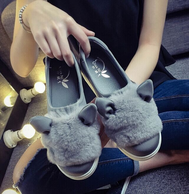 Free Shipping Women PU Shallow-mouth Shoes Slip-on Loafer Casual Shoes Flats Outdoor Shoes Cat-Ear Shaped Size35-39<br><br>Aliexpress