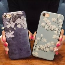 Luxury Fashion Flower Orchid Silicone Full Body Case for iPhone 7 6 6s 5 5s Case soft Phone Cases Back Cover for 7 6 plus Coque