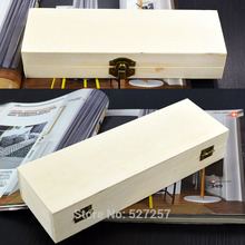 Pencil Box Handmade Wooden Pen Case Storage Organizer Gift Hollow White Base DIY Picture Art Decor 21CM(China)