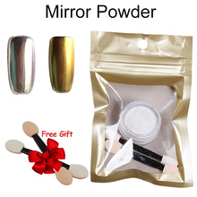 Vrenmol 1 Box Gold Silver Glitter Magic Mirror Effect Powders  Nail Gel Polish Chrome Pigment Decorations Dust with Two Brush