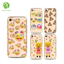 FEIHOO ELE Phone Case For Iphone X 8 8P 7 7P 6s 6P 5s Emoji Series Painted Silicone Transparent Cute TPU Soft Phone Bags Cases(China)