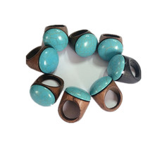 1pcs design christmas gift jewelry  Big good wood Green blue Gem Ring Restoring Ancient