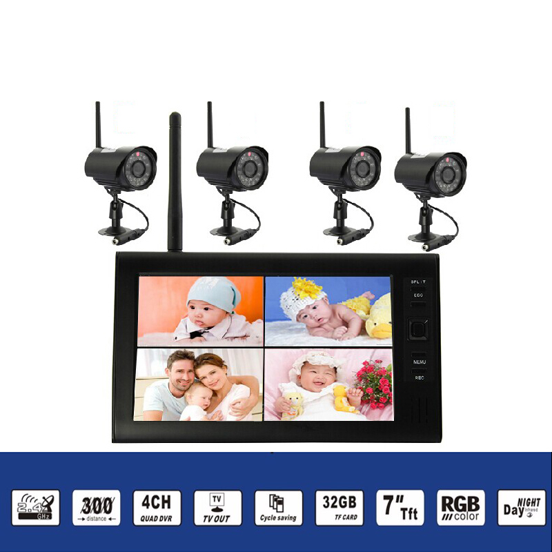 2.4Ghz Wireless Baby Monitor Kit Concluding 4Ch Digital Waterproof Bullet Camera and 7inch TFT LCD Monitor with QUAD Display_1
