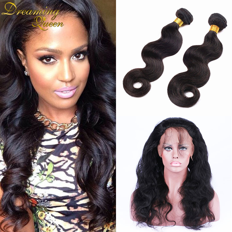 2Pcs/lot Bundles With 360 Frontal Brazilian Virgin Hair Extension Body Wave Bundles With 360 Full Lace Frontal Dream Queen Hair<br><br>Aliexpress