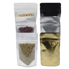 50Pcs/Lot Clear Front / Back Silver Gold Black Zip Lock Stand Up Pure Aluminum Foil Mylar Bags Doypack Food Snacks Ziplock Bag