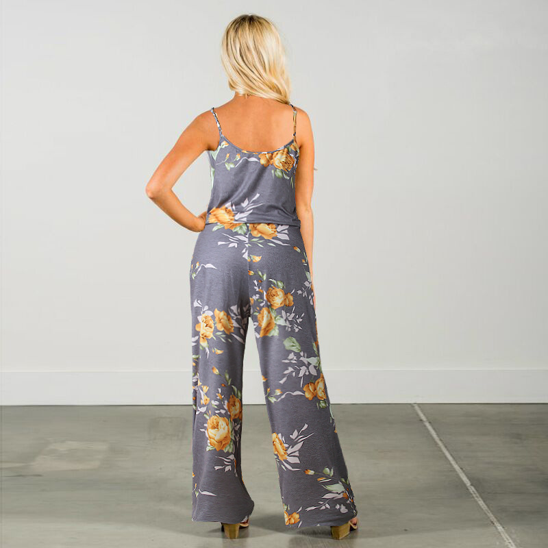 Spaghetti Strap Jumpsuit Women 2018 Summer Long Pants Floral Print Rompers Beach Casual Jumpsuits Sleeveless Sashes Playsuits 6