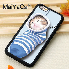 Cute Cat in sock Sleeping Printed Soft Rubber Phone Cases Accessories For iPhone 6 6S Plus 7 7 Plus 5 5S 5C SE 4 4S Cover Shell