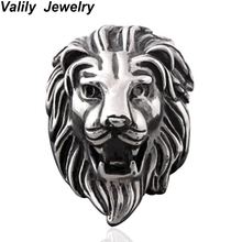 Valily Jewelry Men Ring Black Lion Head Gothic Biker Ring Stainless Steel Stunning Punk fashion Band Male Rings Party Jewelry(China)